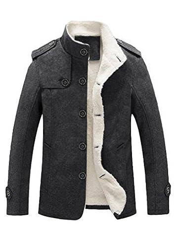 MatchLife Veste Habillée en Laine Doublure Cachemire Gallon et Manches avec Boutons Manteau Stylé pour Homme-Gris Foncé-L