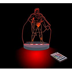 FUNLIGHTS Superman Lámpara Bebé LED Multicolor con Mando. Elige el Color, Intensidad, Temporizador, Arco-iris y ¡mucho más!