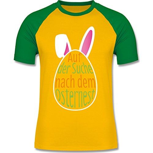 Ostern - Auf der Suche nach dem Osternest - zweifarbiges Baseballshirt für Männer Gelb/Grün