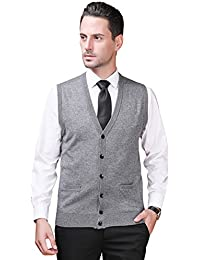 Zicac Pull sans Manches Col V avec Boutons Homme