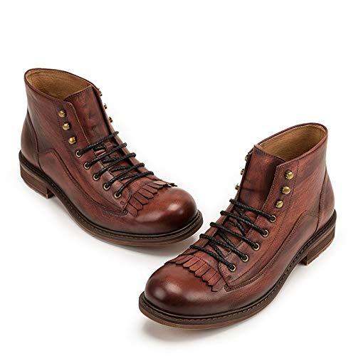 Ruiyue Botas de Hombre de Borla de Estilo Vintage otoño Invierno Botas de Tobillo de Cuero Genuino de Corte Alto Moda Casual para Hombre (Color : Red, Size : 43-EU)