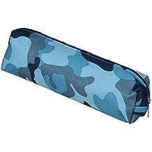 sombras de ojos, Challeng Bolso de maquillaje cosmético de la bolsa de la caja de lápiz de la bolsa de la caja de lápiz de la camuflaje de 4 colores (azul)