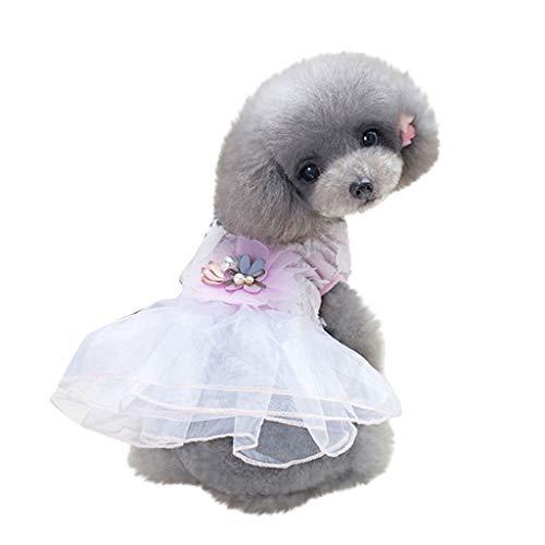 YWLINK Hunde Haustier Retro TräUmen Party Prinzessin Rock 3D Blume Drucken Kleidung Katze Spitze Mesh Patchwork Atmungsaktives Kleid(M,Rosa)