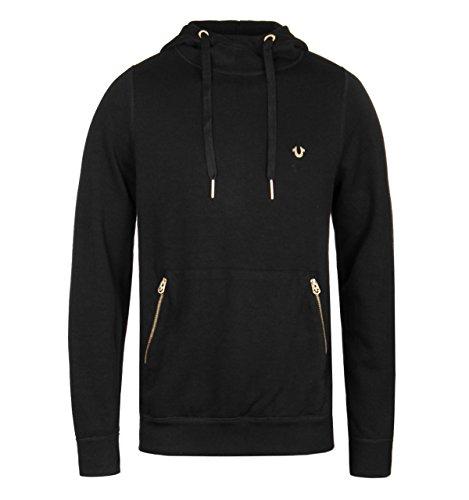 True Religion Black Gold Zipper Overhead Hoodie-LARGE