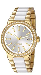 Esprit Feather Women's Quartz Watch with Silver Dial Analogue Display and Gold Stainless Steel Bracelet ES106052003