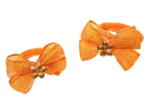 Glitz4Girlz Orange Shimmer Bow Ponios by Glitz4Girlz
