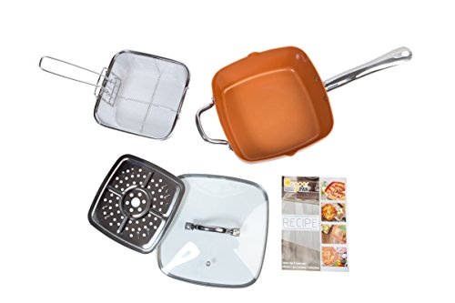 Copper Non-Stick Deep Sided Square Pan Kit with Lid 24cm 5 Piece Set Large Induction Base Great for Frying Baking Roasting Stir-Fry Oven Safe – By Nuovva