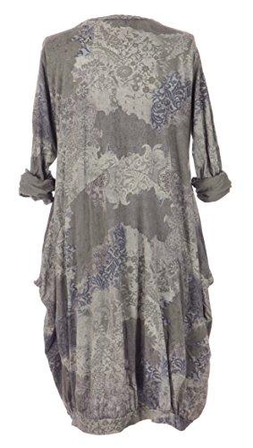 Damen Womens italienischen Lagenlook schrulligen Langarm Band Saum bedruckter Baumwolle 2 Tasche Midi Kleid One Size UK 12-18 Mokka