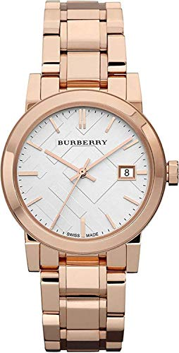 Burberry The City Swiss lusso rotonda in oro rosa 34 mm bianco data quadrante donne orologio BU9104