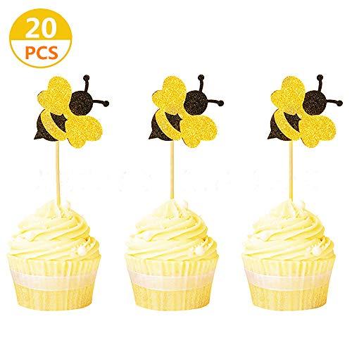 JeVenis 20 STÜCKE Glitter Bumble Bee Cupcake Topper was Wird es Biene Cake Topper für Bumble Bee Geschlecht enthüllen Baby Shower Birthday Party Decor -