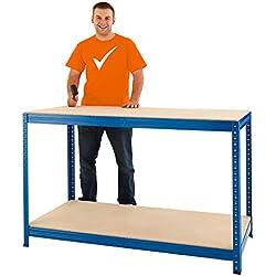 Certeo Etabli réglable en hauteur | HxLxP - 90 x 140 x 60 cm | Charge max de 300 Kg par étagère | Charge totale 1200 kg |Montage simple par emboîtage | Etabli poste de travail table polyvalente