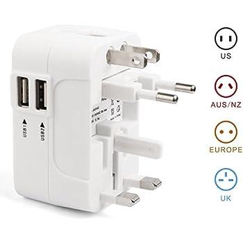 Travel Adapter Weltweit All In One Austauschbare Reise-Adapter-Wand Wechselstrom-Stecker-Adapter-Wand-Ladeger/ät Dual USB-Lade Ports UK Plug-2USB