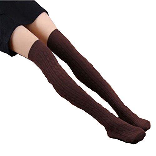 Schenkel-hoher Strumpf Kaffee (BZLine® 1 paar neue Baumwolle Frauen stricken Oberschenkel Strümpfe hohe Socken (Kaffee))