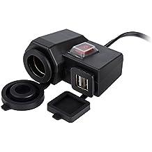 TurnRaise Impermeable 5V / 2.1A Dual USB Salida Moto Adaptador Cargador USB Carga Sistema Eléctrico con la Toma del Mechero de Coche DC 12V