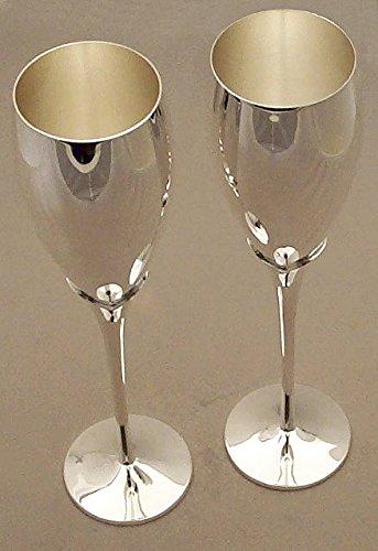 Calici da vino/champagne a stelo lungo placcati argento, marchio Knight