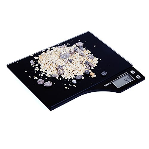 Duronic KS350 - Bilancia da cucina digitale con piattaforma in vetro nero; portata 5KG