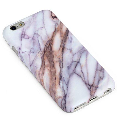 SGSELLER 4.7 iPhone 6 6S TPU Slim Fit Ultra Dünn Stoßfest Anti-Kratz Anti-Fingerabdruck Matt Schutzhülle Gehäuse, Plastik, Marmor (Holz) Marble (Brown Streaks)
