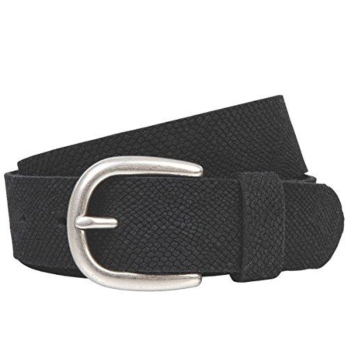 LINDENMANN The Art of Belt Ledergürtel Damen/Gürtel Damen, Rindledergürtel mit Python-Print, schwarz, Größe/Size:85, Farbe/Color:schwarz Python Print Belt