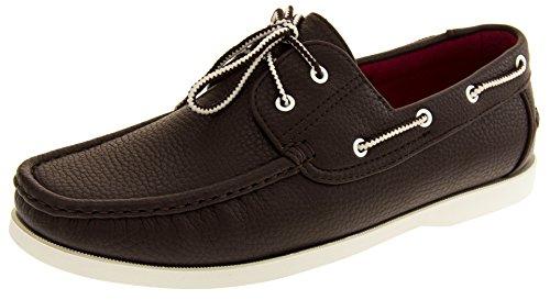 Shoreside Hommes Chaussures de pont Brun (sole Blanc)