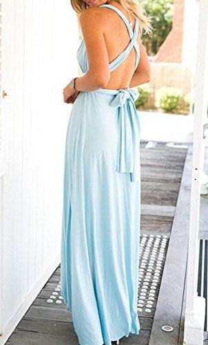 Donna Estivo Vestiti Sexy Senza Schienale Senza Maniche Scollo a V Vestito Lunghe da Spiaggia Maxi Abito da Sera Partito Cerimonia da Cocktail Azzurro