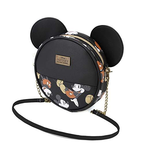 Karactermania Micky Maus True-Runde Schultertasche Umhängetasche, 18 cm, Black (Mouse Handtaschen Mickey)