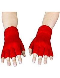 Handschuhe gestrickt, fingerlos, rot