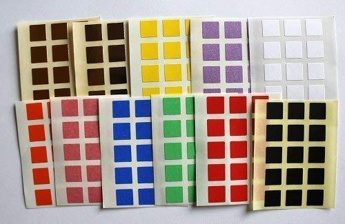 Verschiedene Farben 165 mm, 10 Etiketten, quadratische Form, selbstklebend, Minilabel Formen