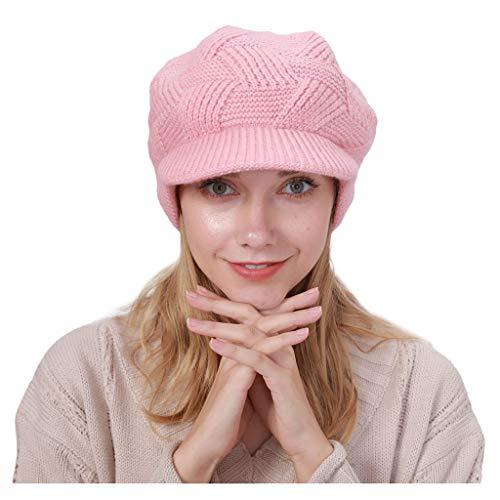 Huacat Frauen Strickmütze Herbst und Winter Kaschmir sowie Samt dicken gestreiften monochromen Wollmütze (Finn Hut Kostüm)