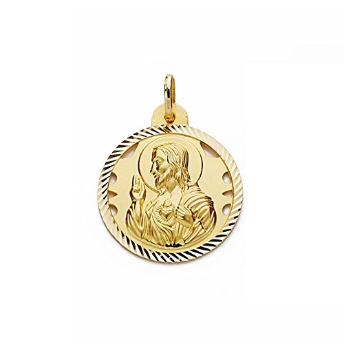 Medalla Oro 18K Escapulario 24mm Virgen Carmen Corazón Jesús [Aa2477]