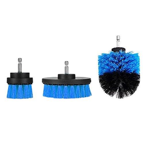 prettygood7 Elektrische Bohrerreinigungsbürsten für Badezimmeroberflächen, Badewannen, Duschfliesen, 3 Stück, blau