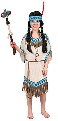 Karneval-Klamotten Indianer Kostüm Kinder Mädchen Indianerin Kostüm Mädchen-Kostüm Squaw Pocahontas beige blau Karneval Größe 164