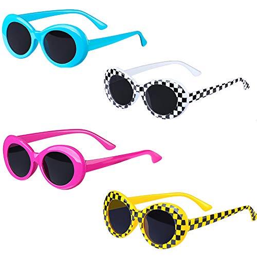 Haichen Retro Clout Oval Brille Mod dicken Rahmen runde Linse Sonnenbrille für Frauen Männer Teenager Mädchen Junge (D)