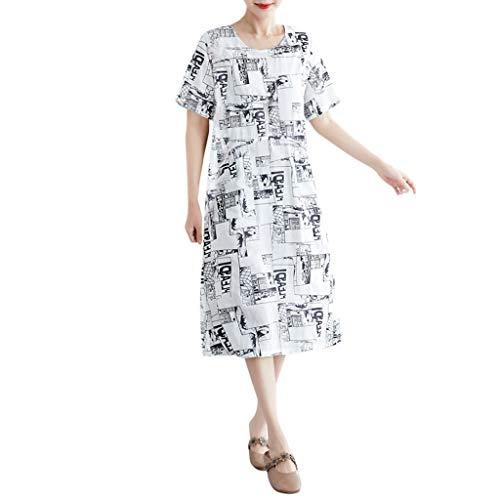 Nncande O-Neck Lässiges Koreanisches Kleid ,Umstands Kleidung ,Strandkleid,Damen Sommer Plus Size Drucken Muster Lose Vintage Kurzarm Knielanges Kleid Lässiges Damenkleid Kurzärmliges Strand Dress