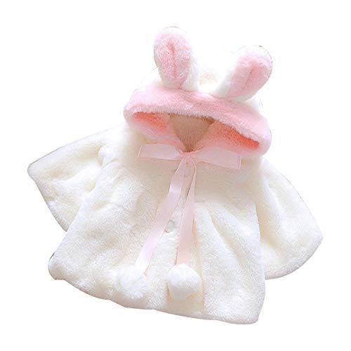 feiXIANG Baby Mantel Jacke mit Kaninchen Ohr Kapuze Dicker Kunstpelz Säuglings mädchen kostüm Langarm Kleidung Winter (Übergröße Kaninchen Kostüm)