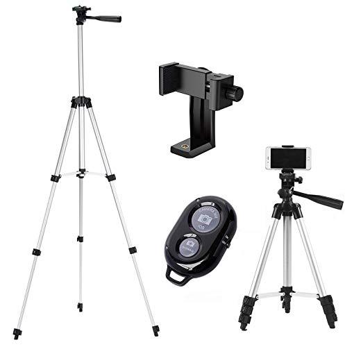 Handy Stativ Smartphone Stativ mit Handy Halterung und Bluetooth Fernbedienung Handy Stativ für iPhone Samsung und Kamera