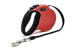 Chewy Express Ausziehbare Hundeleine, Spazierleine, Ausziehleine Für Hunde Bis 50 Kg – Einfaches Stoppen Mit Einem Finger Und Reflektierende Leine – Rot – 1 Stück
