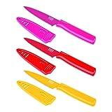 KUHN RIKON 22396 Messer 3er Messerset Gemüsemesser Colori 1 Rüstmesserset gelb/rot/fuchsia 19,5 cm m. Klingenschutz