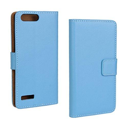 UKDANDANWEI Huawei Ascend P7 mini Hülle - Book-Style Wallet Case Flip Cover Etui Tasche Case mit Standfunktion Für Huawei Ascend P7 mini Blu