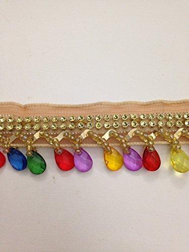 Tropfenform Gold mit Multi-Perlen Borte Fransen Spitze Band Hochzeit Aufnäher 91cm Folie benötigen