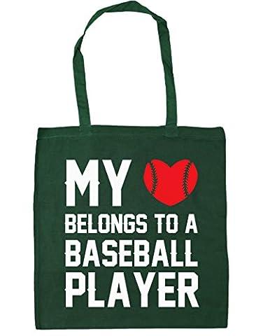 HippoWarehouse My heart belongs to a baseball player Tote Shopping Gym Beach Bag 42cm x38cm, 10 litres