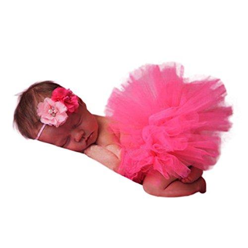 Kleinkind Neugeborenes 0-4 Monate Spitzen Set Kleider Foto Stütze Jahrestag Outfits Photography Prop Baby spitzenkleid Tutu Rock mit Gummiband (F) (Halloween-ideen Für Kleinkinder Partei)