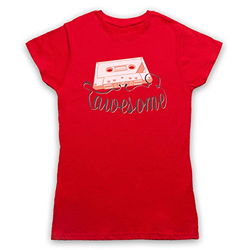 Cassette Tape Awesome Text Damen T-Shirt Rot