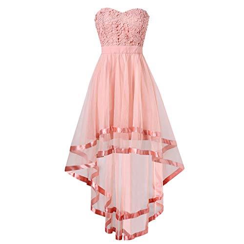 iYmitz Frauen süße Spitze ärmellose trägerlose Unregelmäßigkeit knielangen Kleid Rückenfrei Spitze Ballkleid Brautjungfernkleid (Rosa,EU-40/CN-XL