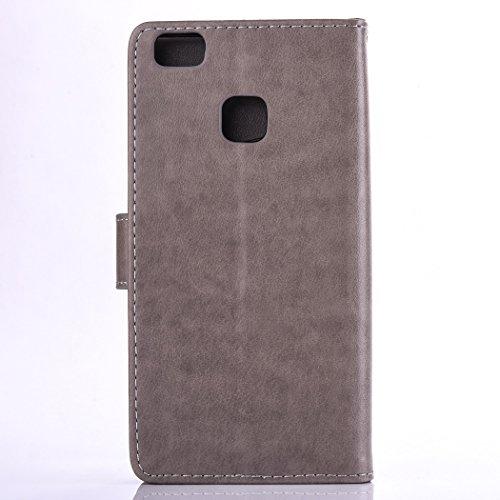 Custodia per Huawei P9 Lite, ISAKEN Flip Cover per Huawei P9 Lite con Strap, Elegante Bookstyle Contrasto Collare PU Pelle Case Cover Protettiva Flip Portafoglio Custodia Protezione Caso con Supporto  Grigio