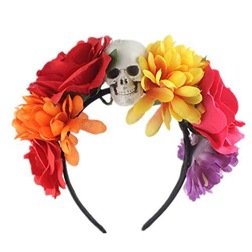 Kostüm Name Tag - Pepional Tag Der Toten Blume Krone Stirnband Halloween Schädel Stirnband Tag Der Toten Halloween Kostüm Party Favors Supplies