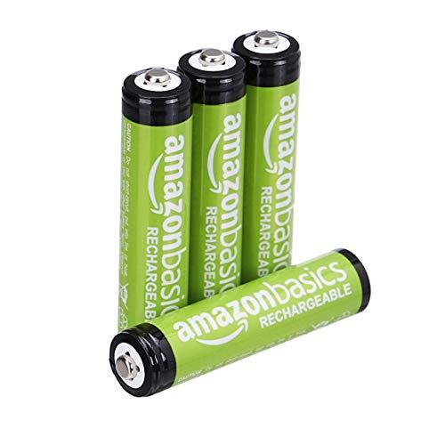 AmazonBasics Lot de 4 piles rechargeables Ni-MH Type AAA 1000 cycles à 800 mAh/minimum 750 mAh (design variable)