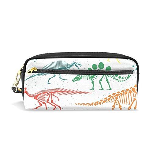 ahomy Dinosaurier Skelett Colorful Bleistift Pen Fällen Doppelreißverschluss Große Make-up Kosmetik Stationery Tasche für Tasche für Mädchen jungen Frauen