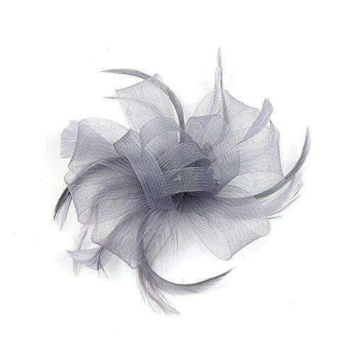 ar-Zusatz-Feder-Kopf-Blumen-Ineinander greifen-Stirnband-wildes Kleid zeigen Braut-Kopfschmuck-Cocktail-Hut-Blumen-Haar-Klipp-Hut ()