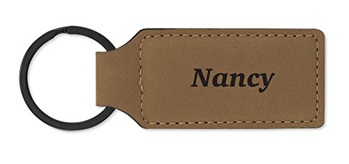 Dimension 9 Laser Engraved, Classic Leatherette Key Ring, Beige (LKR-Nancy)