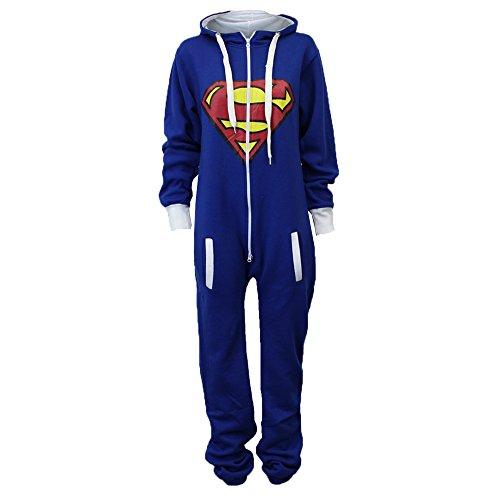 Damen Superman Jumpsuit mit Kapuze in der Farbe Königsblau